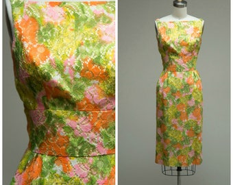 Vintage 1950s Dress • Malibu Moments • Bright Orange Green Pink Lace Late 50s Cocktail Dress Size Small