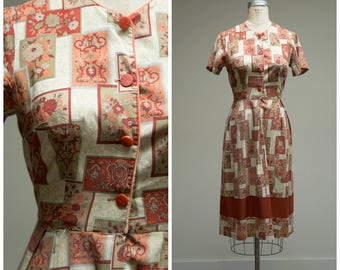 Vintage 1950s Dress • Pumpkin Patch • Autumn Colored Cotton Printed 50s Day Dress Size Medium