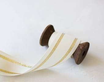 "Gold Metallic Center Line Natural Cotton Ribbon (with Wooden Spool) - 5 yards - 1.25"" wide"