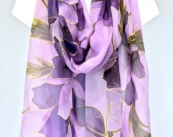 Bridal Chiffon Shawl, Wedding Scarf, Purple Chiffon Scarf, Hand Painted Silk Shawl, Gold, Purple Japanese Peony, 22x90 inch,
