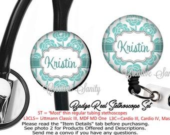 Nurse Badge ID Set, Personalized Robins Egg Blue Flowers, Nurse Badge, Stethoscope ID Tag and Badge Reel Combo Set, READ Listing Carefully