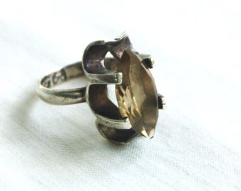 Mexican Smoky Quartz Ring Size 6 .5 Vintage Sterling Silver Marquise Faceted Brown Stone Victorian Style