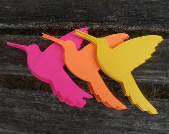 50 Hummingbirds. 4 inch. CHOOSE YOUR COLORS. Wedding, Shower, Escort Tag, Wishing Tree, Place Card, Seating, Birthday Decor.