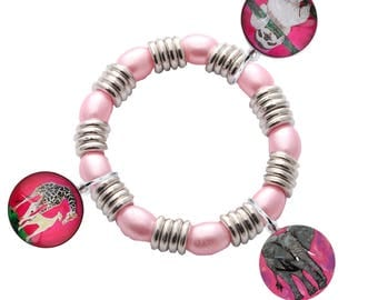 Animal Charm Stretch Bracelet for Young Girl by Salvador Kitti - Elephant, Giraffe and Sloth