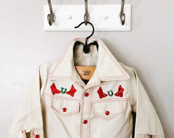 Children's Western Pearlsnap // Kids Embroidered Shirt // Horses Cowboy Cowgirl // Childrenswear 2T 3T 22 inch chest
