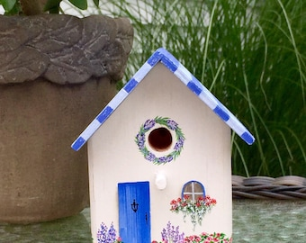 Mini, rustic, blue, beach cottage, handpainted birdhouse