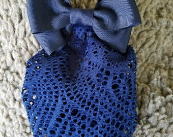 Long Navy Snood with Navy Bow attached to a Barrette