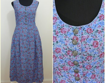 Bohemian VINTAGE Bavarian Rose DIRNDL Blue Pink Flower Folk Dress UK14 FR42 Oktoberfest / Tyrol / Austrian / German/  / Trachten / Floral