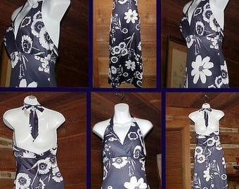 Vintage 1970s Floral Maxi Halter Dress, Jack Hartley Miami, Mid Century Mod, Blue & White Long Polyester Dress, Small - Size 5/6