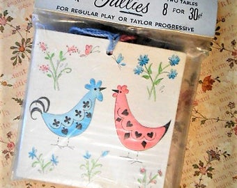 Midcentury Rooster Chicken Talley Cards Cottage Chic 1960s