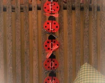 Ladybug welcome door sign hanger ladybugs country welcoming decor