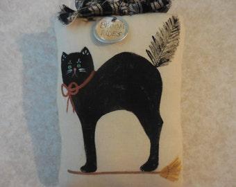 Primitive Folk Art Halloween Pillow Tuck Wall Hanging Hand Painted Black Cat Broom Rides
