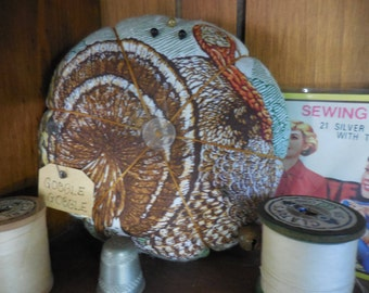 Primitive Thanksgiving Pin Keep Turkey Pin Cushion Ornament Holiday Decor