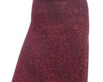 Burgundy Red  Glitter Tango Skirt with Tail and SLit  US 4 and 6   Milonga  Dancewear Tango Jupe