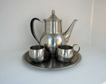 Vintage STAINLESS STEEL COFFEE Set 4pc Tea Hot Cocoa Wm A Rogers