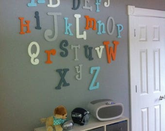 Painted Wooden Alphabet Letter Set - ABC Wall - Child Room Nursery Decor- Hanging Wooden Wall Letters- Nursery Decoration- A to Z- Dr Seuss