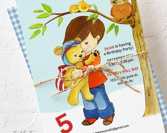 Birthday Party Invitations - Little Boy & His Teddy Bear (Style 13466)