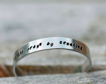 Stamped aluminium cuff bracelet // Made to order // Artist quote // Flannery O'Connor