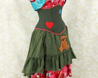 Firefly Kaylee Inspired Olive Green Steel Boned Corset w/Heart & Flower Patches - You Choose Your Corset Style - Custom Sized