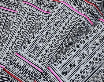 Thai Hand printed Fabric Natural Cotton Fabric by the yard Hmong Fabric Hill Tribe Fabric Vintage Fabric Indigo Batik Black Pale Blue HF25