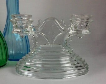 Crystal Candlestick Holder, Clear Crystal Glass 2 Tapered Candles Candlestick Holder