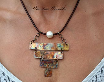Flame Painted - Copper Necklace -  Leather and Pearl Necklace with Flame Painted Copper - Leather Necklace - Rectangles - Christine Chandler