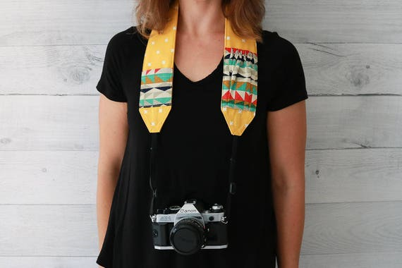 Camera Strap | Mustard Yellow Padded Camera Strap with Southwest Print Lens Cap Pockets