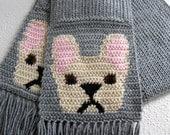 French Bulldog Scarf. Gray knit and crochet scarf with fawn bulldogs. Crochet dog scarf.
