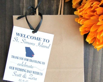 Personalized destination wedding welcome tag. Wedding bag tags. Welcome destination