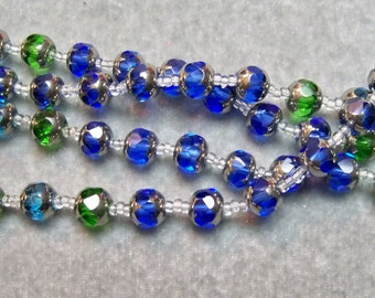 Cathedral Beads 8mm 1 new Strand 32pcs Greens n Blues Assorted
