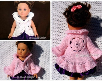 Crochet Pattern 180 Flower Cardigan for 18 inch Doll Crochet Pink Vest Jacket for American Doll My Life As Dolls Christmas Gift for Girl