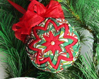 "Quilted Ornament - 2.5"" -  Christmas Candy Fabric - Christmas Ornament - Ornament Exchange, Co-Worker Gift, Tree Ornament"
