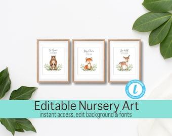 Woodland Nursery Art Prints, SET OF 3, Bear, Fox, Deer, Kid signs, Clever little fox, Brave little bear, Adventure theme, Instant Download