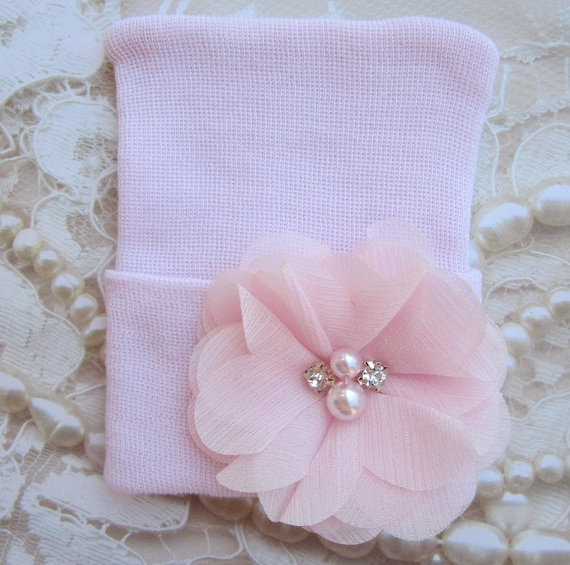 Newborn Hospital Hat, pink with a pink chiffon flower, take home beanie, beenie, infant, baby hat, Lil Miss Sweet Pea Boutique