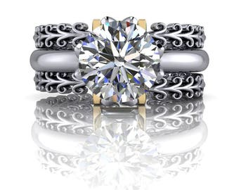 Diamond Wedding Bands - Solitaire Engagement Ring and Diamond Baguette Stacking Bands - Insieme™ Bridal Stackables