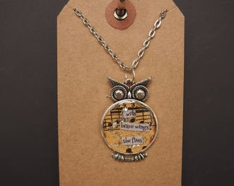with brave wings she flies - Owl Art Pendant - Inspirational Message - FREE SHIPPING