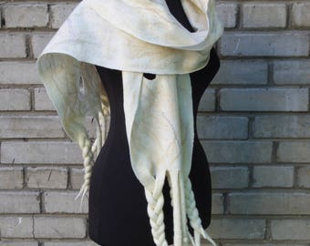 "Lady of the cold"", large, wide soft wet felted wool shawl, one-of-a-kind pure wool hand felted accessory, art-to-wear winter fashion garment"