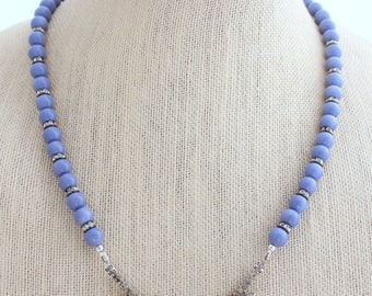 Upcycled Necklace, Rhinestone Necklace, Periwinkle Necklace, Bridesmaid Gift, Something Blue,Upcycled Jewelry,Heirloom Jewelry,Something Old