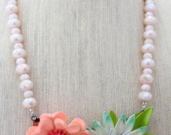 Pink Necklace, Flower Necklace, Statement Necklace, Collage Necklace, Daisy Necklace, Upcycled Necklace, Upcycled Jewelry, Recycled Jewelry