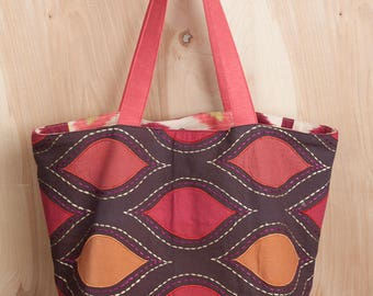 Sunset Tote- Appliquéd Cotton and Linen Tote- Ikat Lining- by beckyzimmdesign