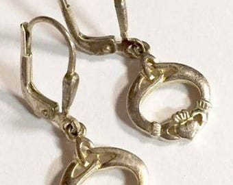 Vintage Sterling Silver Claddagh Lever Back Earrings