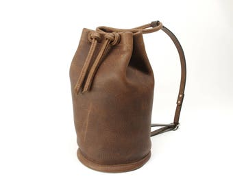 Small Chocolate Brown Leather Sack Pack - CLEARANCE