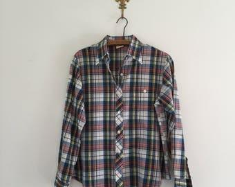 Vintage 70's Blue Plaid Button Up Shirt M