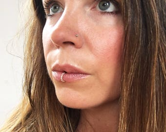 Gold Beaded Faux Lip Ring, Gold Filled Lip Cuff, Rose Gold Lip Hoop,  Fake Lip Ring