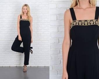 Vintage 80s Black Jumpsuit Metallic Embroidered Glam Pleated XS Embroidery 10014