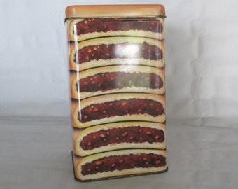 Fig Newton Cookie Tin, Vintage Retro Kitchen Decor Shelf Display Storage Container Trinket Memento