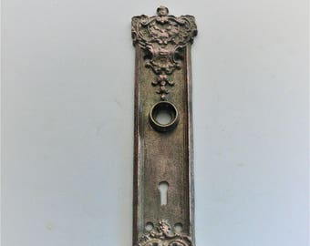 Antique Escutcheon Metal Door Plate Keyhole Vintage Key Hole Plate Aged Patina House Hardware Architectual Salvage 1900s