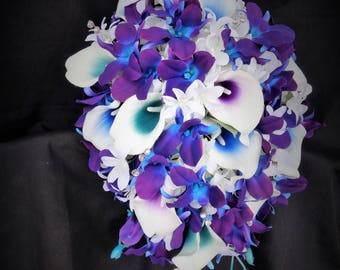 Galaxy orchid bridal bouquet, purple blue island orchid bouquet, white real touch calla lilies