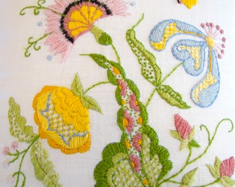 Crewel Embroidery Pillow Case / Cover with Pillow