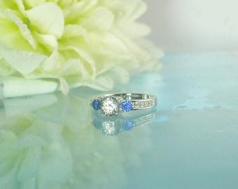 Three Stone Sapphire Ring, Natural Blue Sapphire Ring, Blue Sapphire Sterling Ring, Herkimer Diamond Sapphire Ring, Natural Blue Sapphire